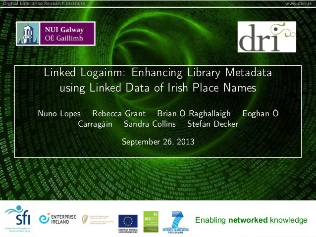 Digital Enterprise Research Institute www.deri.ie Enabling networked knowledge Linked Logainm: Enhancing Library Metadata ...