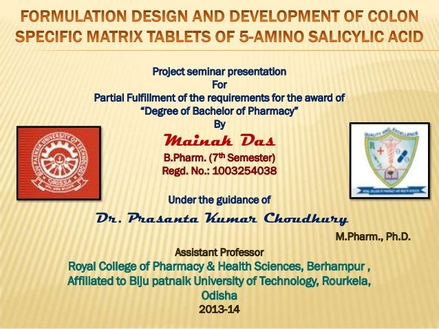 """Project seminar presentation For Partial Fulfillment of the requirements for the award of """"Degree of Bachelor of Pharmacy""""..."""