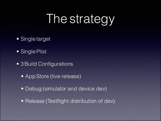 The strategy • Single target • Single Plist • 3 Build Configurations • App Store (live release) • Debug (simulator and devi...