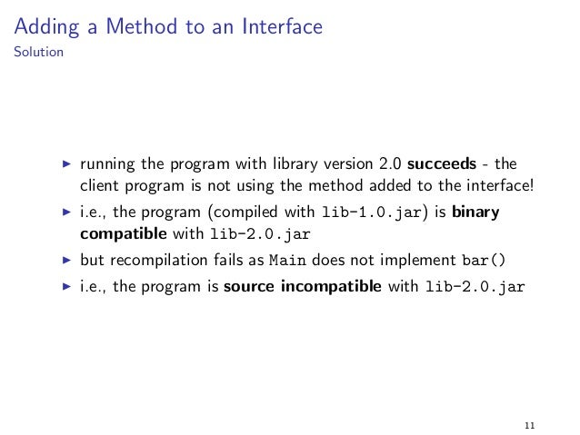 Introduction - Evolution Problems  Questions:  1. does the program link with lib-2.0.jar - i.e., is it binary  compatible ...