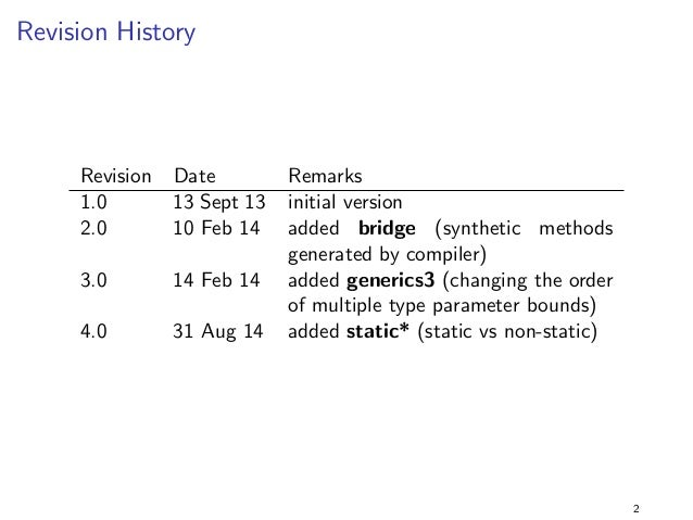 Revision History  Revision Date Remarks  1.0 13 Sept 13 initial version  2.0 10 Feb 14 added bridge (synthetic methods  ge...