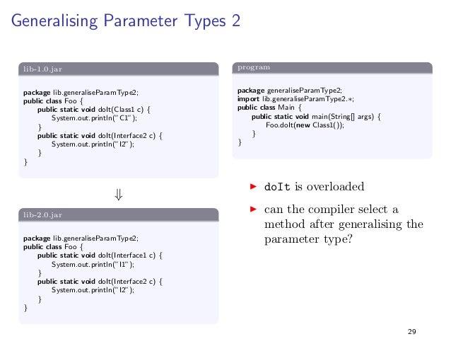 Specialising Return Types 3  lib-1.0.jar  package lib.specialiseReturnType3;  import java.util.;  public class Foo f  publ...