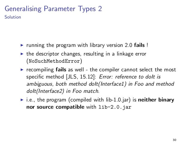 Specialising Return Types 3  Solution  I as before, the program is binary incompatible with  lib-2.0.jar: java.lang.NoSuch...