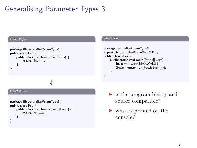Specialising Return Types 4  lib-1.0.jar  package lib.specialiseReturnType4;  import java.util.;  public class Foo f  publ...