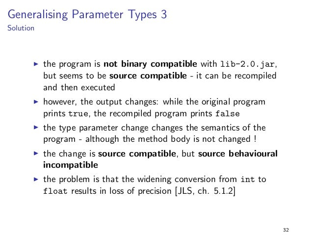 Specialising Return Types 4  Solution  I the program runs but does not compile with lib-2.0.jar !  I i.e., the program is ...