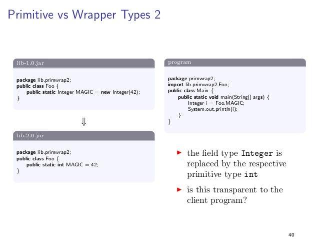 Generalising Parameter Types 3  lib-1.0.jar  package lib.generaliseParamType3;  public class Foo f  public static boolean ...