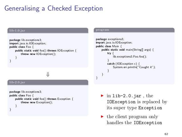 Generics 3  lib-1.0.jar  package lib.generics3;  import java.io.Serializable;  public class FooT extends Serializable  Com...