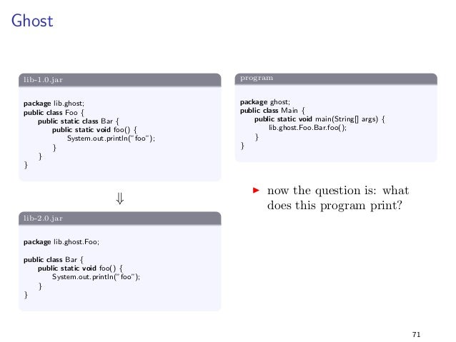 nal String MAGIC = 42;  g  +  lib-2.0.jar  package lib.constants2;  public class Foo f  public static
