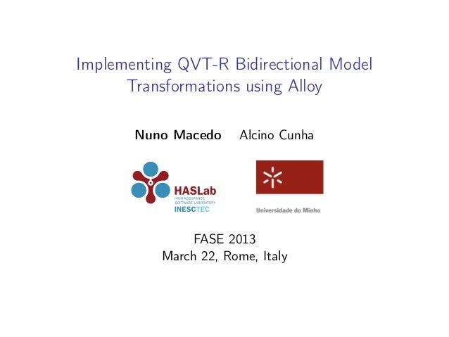 Implementing QVT-R Bidirectional Model Transformations using Alloy Nuno Macedo  Alcino Cunha  FASE 2013 March 22, Rome, It...