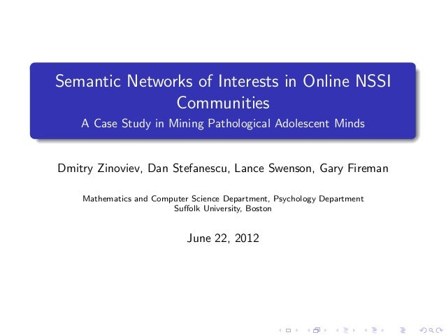 Semantic Networks of Interests in Online NSSI Communities A Case Study in Mining Pathological Adolescent Minds  Dmitry Zin...