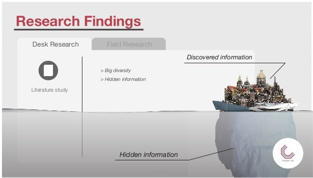 Research Findings Desk Research Literature study Field Research > Big diversity > Hidden information Discovered informatio...
