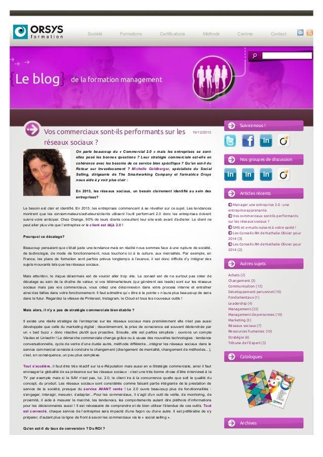 Société Formations Certifications Méthode Centres Contact Le blog 19/12/2013 On parle beaucoup du « Commercial 2.0 » mais ...