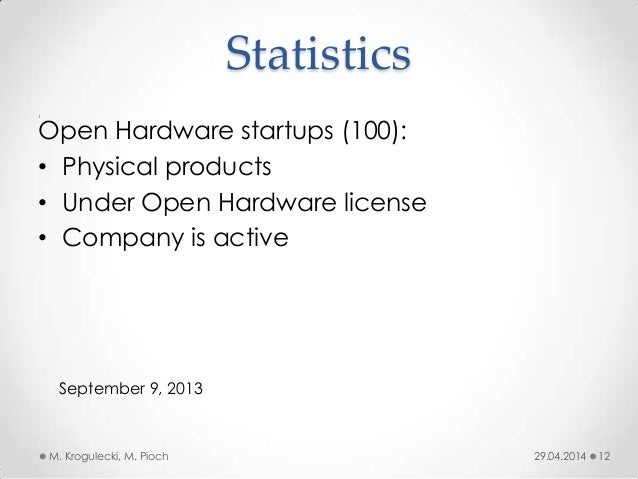 Statistics 1 29.04.2014M. Krogulecki, M. Pioch 12 Open Hardware startups (100): • Physical products • Under Open Hardware ...