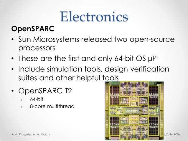 08.05.2014M. Krogulecki, M. Pioch 26 OpenSPARC • Sun Microsystems released two open-source processors • These are the firs...