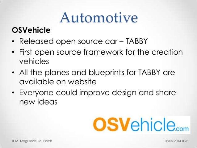 08.05.2014M. Krogulecki, M. Pioch 28 OSVehicle • Released open source car – TABBY • First open source framework for the cr...