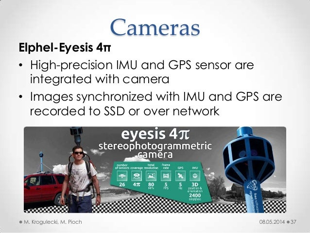 08.05.2014M. Krogulecki, M. Pioch 37 Elphel-Eyesis 4π • High-precision IMU and GPS sensor are integrated with camera • Ima...