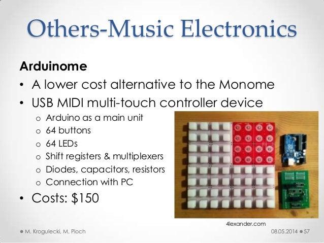 08.05.2014M. Krogulecki, M. Pioch 57 Arduinome • A lower cost alternative to the Monome • USB MIDI multi-touch controller ...