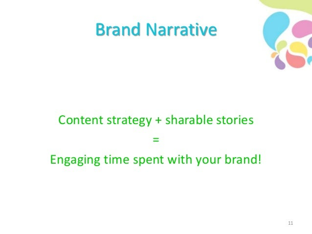 Brand Narrative Content strategy + sharable stories = Engaging time spent with your brand! 11