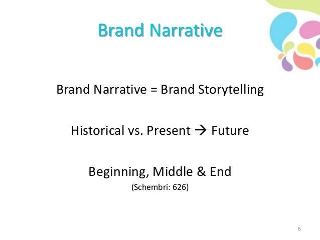 Brand Narrative Brand Narrative = Brand Storytelling Historical vs. Present  Future Beginning, Middle & End (Schembri: 62...