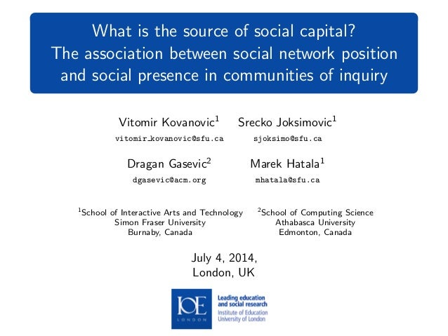 What is the source of social capital? The association between social network position and social presence in communities o...