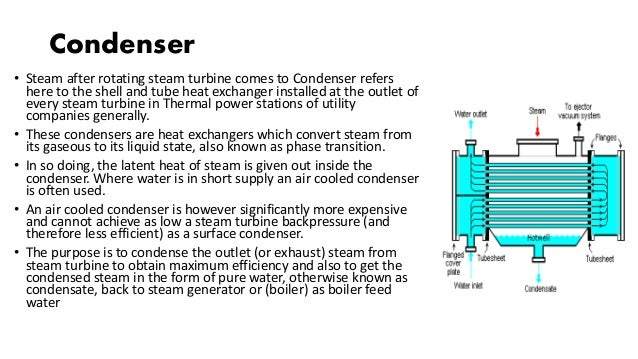Condenser • Steam after rotating steam turbine comes to Condenser refers here to the shell and tube heat exchanger install...