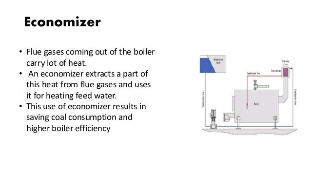 Economizer • Flue gases coming out of the boiler carry lot of heat. • An economizer extracts a part of this heat from flue...