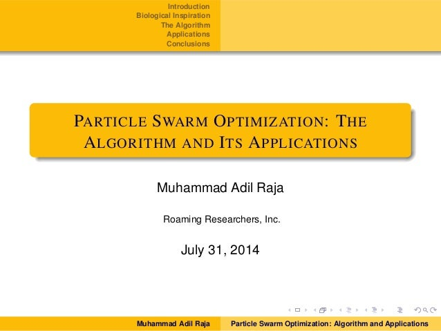 Particle Swarm Optimization: The Algorithm and Its Applications