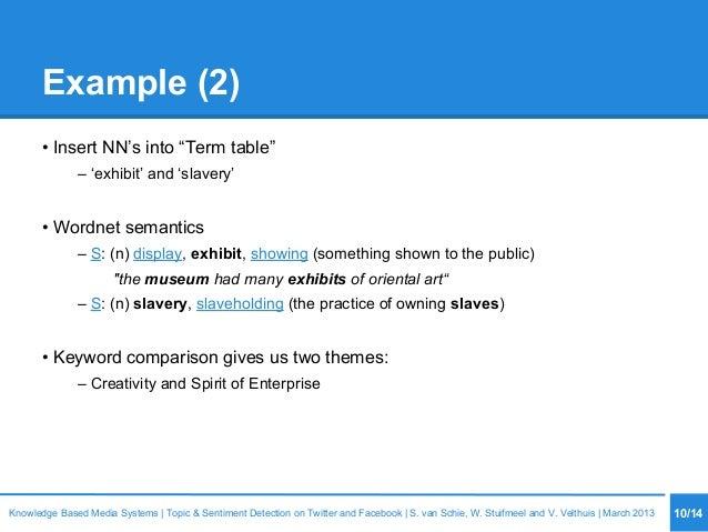 "Example (2) • Insert NN's into ""Term table"" – 'exhibit' and 'slavery' • Wordnet semantics – S: (n) display, exhibit, showi..."