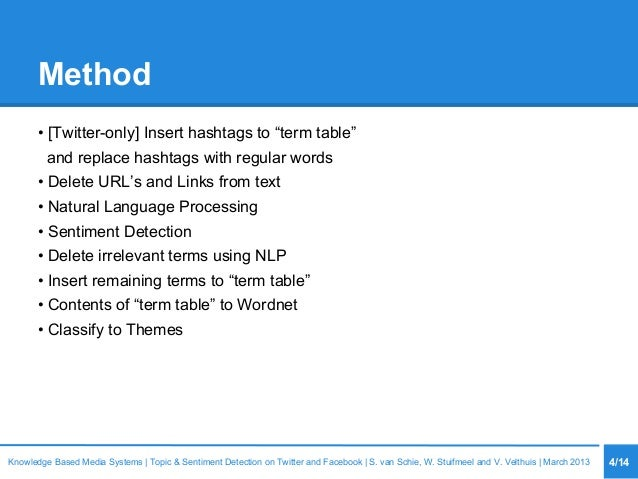 """Method • [Twitter-only] Insert hashtags to """"term table"""" and replace hashtags with regular words • Delete URL's and Links f..."""