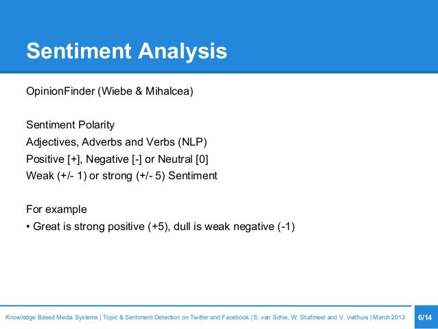 Sentiment Analysis OpinionFinder (Wiebe & Mihalcea) Sentiment Polarity Adjectives, Adverbs and Verbs (NLP) Positive [+], N...