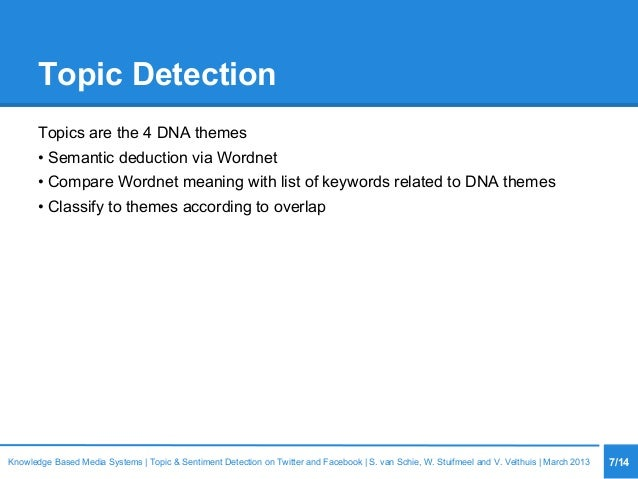 Topic Detection Topics are the 4 DNA themes • Semantic deduction via Wordnet • Compare Wordnet meaning with list of keywor...