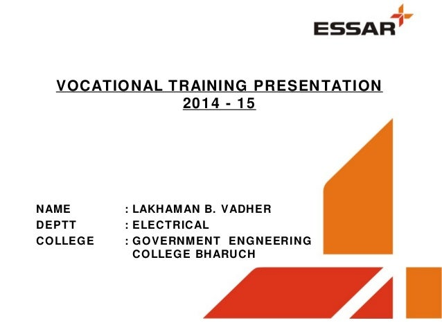 vocational trainning presentation at essar power salaya