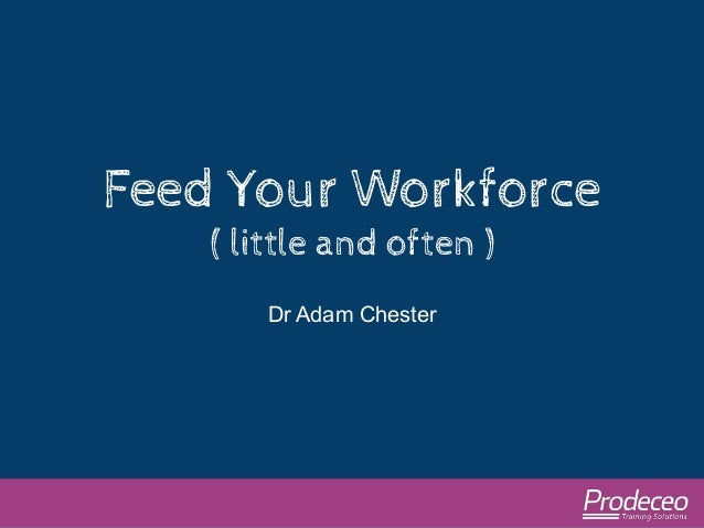 Feed Your Workforce  ( little and often )  Dr Adam Chester