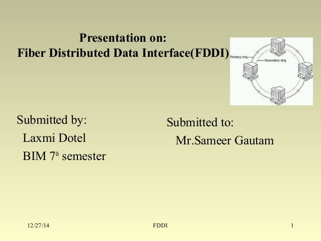Presentation on: Fiber Distributed Data Interface(FDDI) Submitted to: Mr.Sameer Gautam Submitted by: Laxmi Dotel BIM 7th s...
