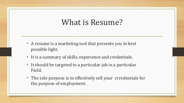 What Is Resume?