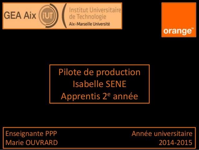Pilote de production Isabelle SENE Apprentis 2e année Enseignante PPP Année universitaire Marie OUVRARD 2014-2015