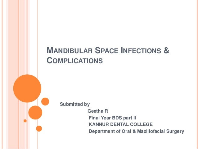 MANDIBULAR SPACE INFECTIONS & COMPLICATIONS Submitted by Geetha R Final Year BDS part II KANNUR DENTAL COLLEGE Department ...