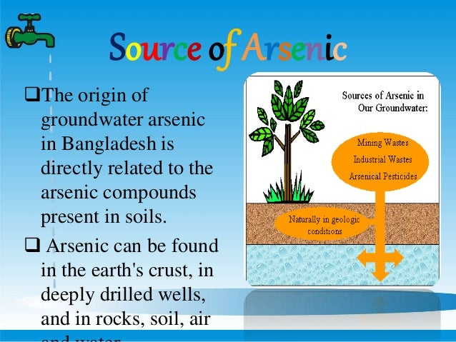 Arsenic contamination in ground water for Origin of soil
