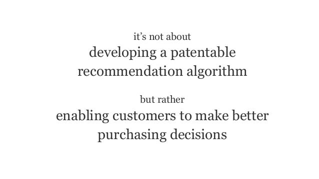it's not about developing a patentable recommendation algorithm but rather enabling customers to make better purchasing de...