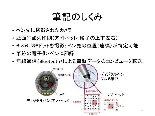 筆記のしくみ • ペン先に搭載されたカメラ • 紙面に点列印刷(アノトドット:格子の上下左右) • 6×6,36ドットを撮影;ペン先の位置(座標)が特定可能 • 筆跡の電子化・ペンに記録 • 無線通信(Bluetooth)による筆跡データのコン...