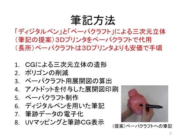 筆記方法 「ディジタルペン」と「ペーパクラフト」による三次元立体 (筆記の提案)3Dプリンタをペーパクラフトで代用 (長所)ペーパクラフトは3Dプリンタよりも安価で手頃 1. CGによる三次元立体の造形 2. ポリゴンの削減 3. ペーパクラフ...