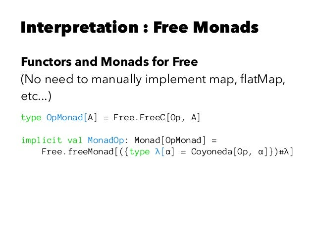 Interpretation : Free Monads Functors and Monads for Free (No need to manually implement map, flatMap, etc...) type OpMonad...
