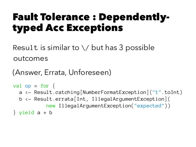 Fault Tolerance : Dependently- typed Acc Exceptions Result is similar to / but has 3 possible outcomes (Answer, Errata, Un...