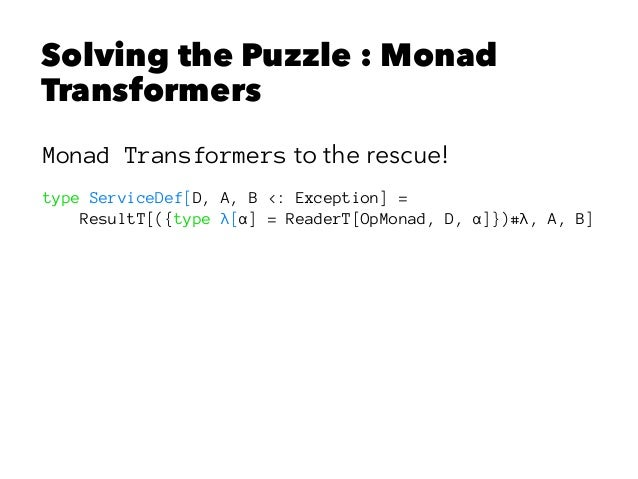 Solving the Puzzle : Monad Transformers Monad Transformers to the rescue! type ServiceDef[D, A, B <: Exception] = ResultT[...