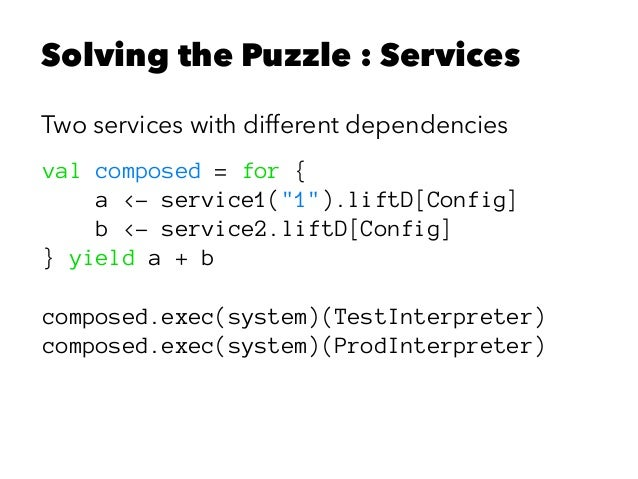 """Solving the Puzzle : Services Two services with different dependencies val composed = for { a <- service1(""""1"""").liftD[Confi..."""
