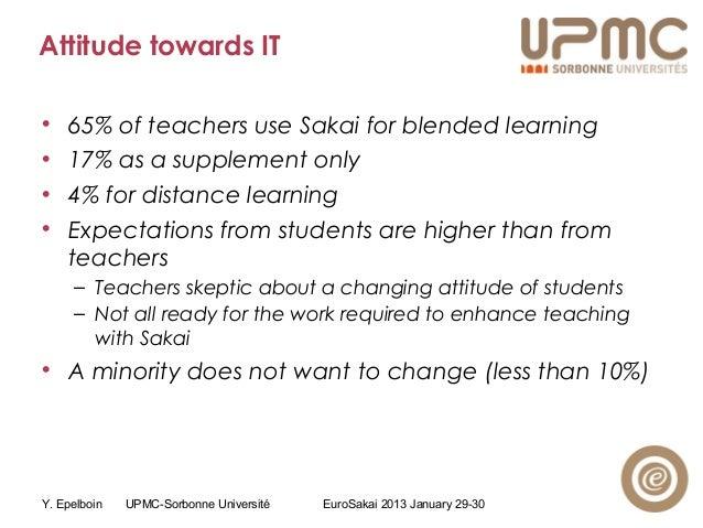 Y. Epelboin UPMC-Sorbonne Université EuroSakai 2013 January 29-30 Attitude towards IT • 65% of teachers use Sakai for blen...