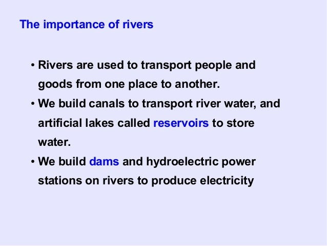 Water - Importance of rivers