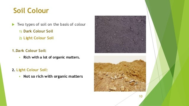 Soil Colour  Two types of soil on the basis of colour 1) Dark Colour Soil 2) Light Colour Soil 1.Dark Colour Soil:  Rich...