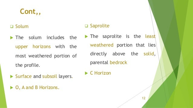 Cont,,  Solum  The solum includes the upper horizons with the most weathered portion of the profile.  Surface and subso...