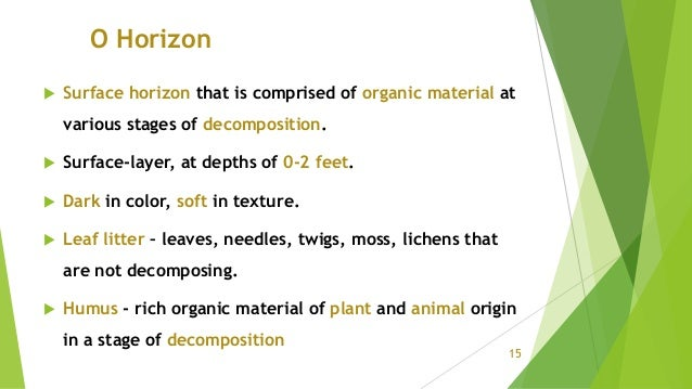 O Horizon  Surface horizon that is comprised of organic material at various stages of decomposition.  Surface-layer, at ...